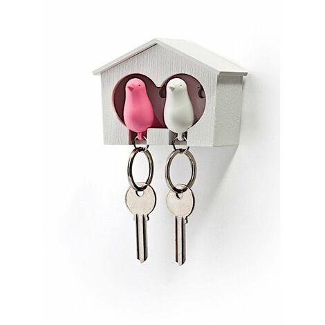 Accroche clés Cabane à oiseaux duo - Blanc et rose - Livraison gratuite