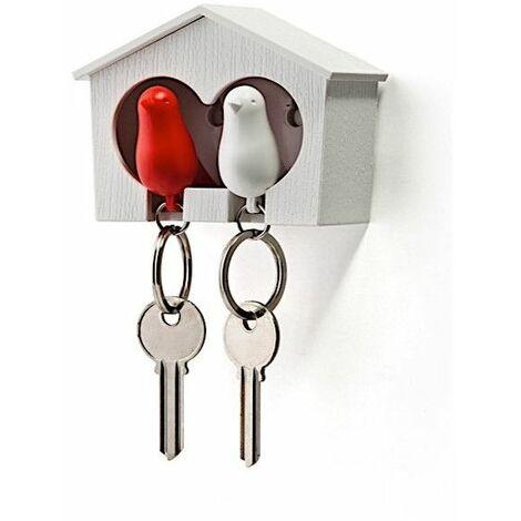 Accroche clés Cabane à oiseaux duo - Blanc et rouge - Livraison gratuite