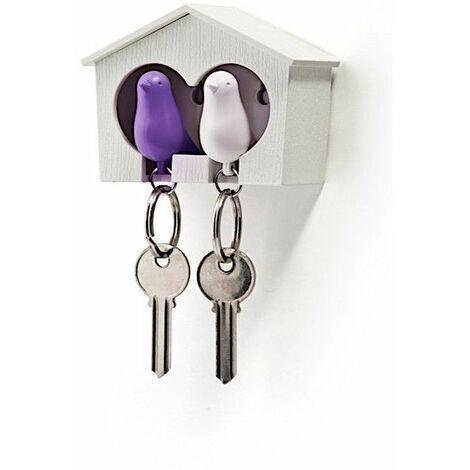 Accroche clés Cabane à oiseaux duo - Blanc et violet - Livraison gratuite