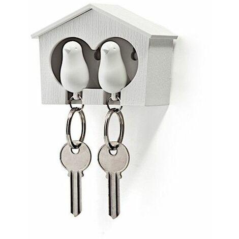 Accroche clés Cabane à oiseaux duo - Blanc - Livraison gratuite