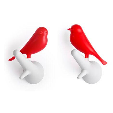 Accroche torchon - Lot de 2 patères - Oiseaux rouges branches blanches