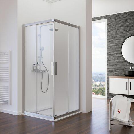 Acc�s d'angle avec portes de douche coulissantes, verre 5 mm, profil� alu argent�, Schulte, 3 largeurs au choix