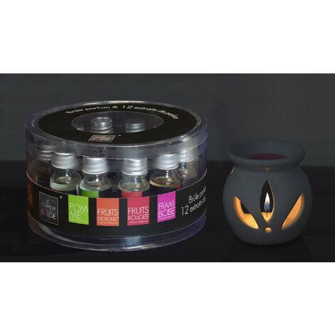 Aceites Esenciales para Humidificado y Difusor, Aromaterapia Set 12. Quemador de Aceites Lavanda, Frutas, Jazmín
