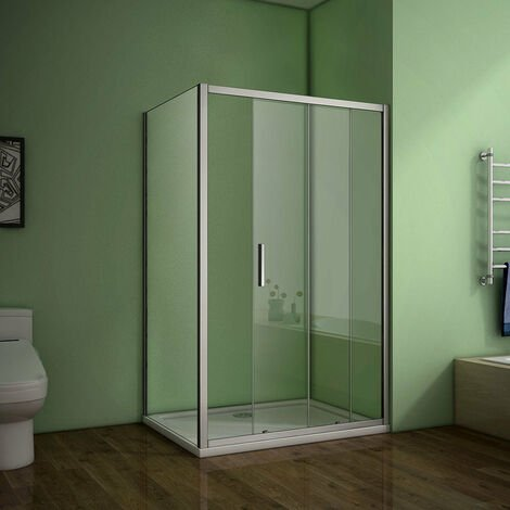 ACIA Sliding Shower door 700-900mm Side panel Enclosure Eletro off white with shower tray