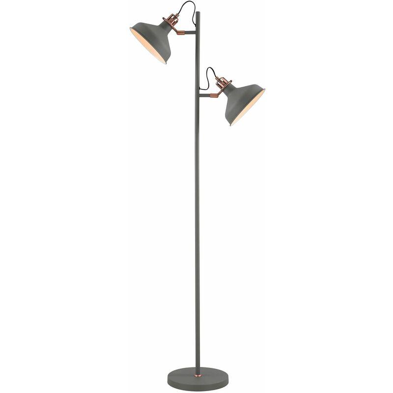 Image of 13-luminaire Center - Acid 2 Bulbs Sanded Gray Floor Lamp 127 Cm