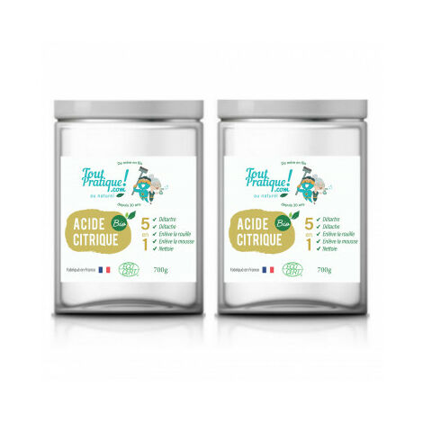 Acide citrique Toutpratique - 2 Kg en pots - Qualité supérieure - Bio -Naturel -Français