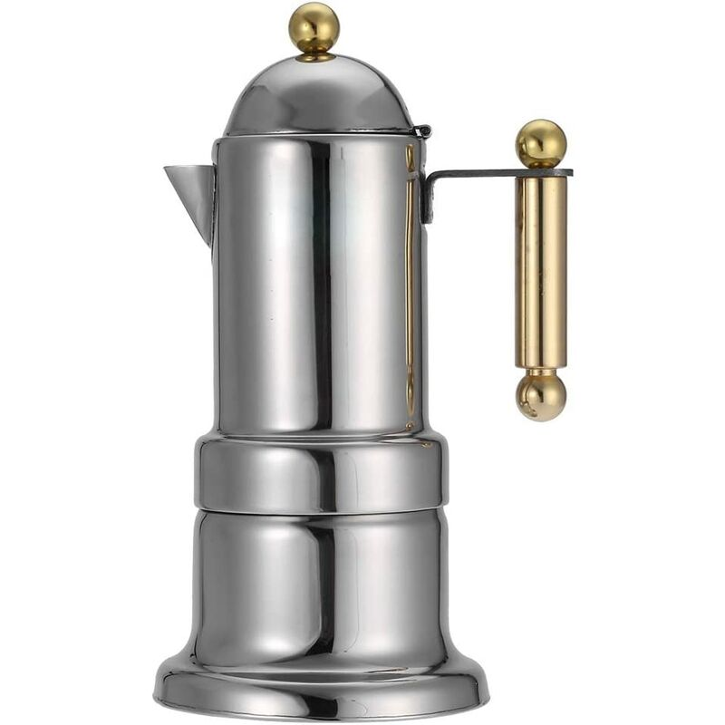 Bares - Acier Inoxydable 4 Tasses Sur La Cuisinière Cafetière Durable Espresso Pot Argent Moka Pot Avec Soupape De Sécurité