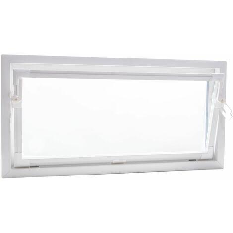 ACO 100cm Nebenraumfenster Kippfenster Einfachglas Fenster weiß Kellerfenster