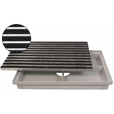 ACO 600x400mm Fußmatte Rips anthrazit mit Bodenwanne Vario Light Schuhabstreifer Abtreter