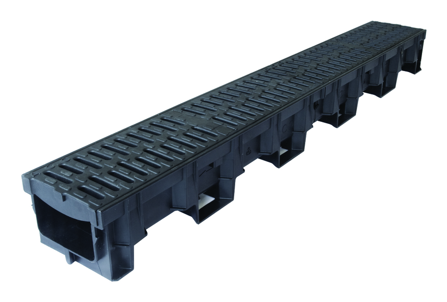 Image of ACO Drainage B125 Driveway Channel with Composite Heelguard Gratings 1m - Hexdrain