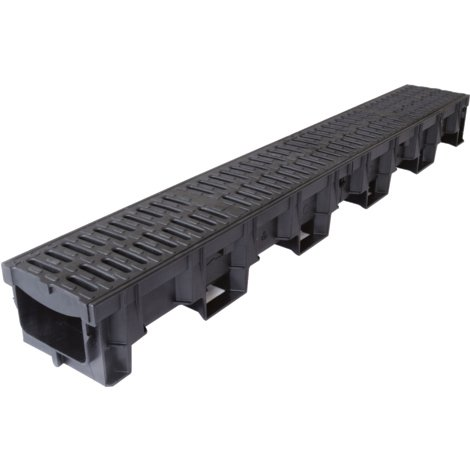 ACO Drainage HexDrain B125 Driveway Channel with Composite Heelguard Gratings 1m