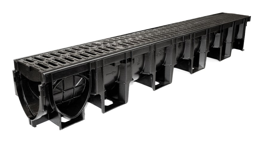 Image of ACO Drainage Pro Channel with Black Composite Heelguard Gratings 1m - Hexdrain