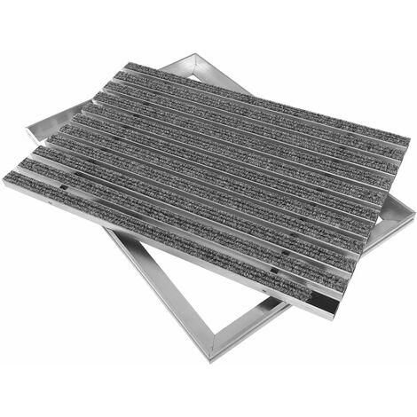 ACO Eingangsmatte 100x50 Rips hellgrau mit ALU Rahmen Fußmatte Türmatte Abstreifer Schuhabstreifer