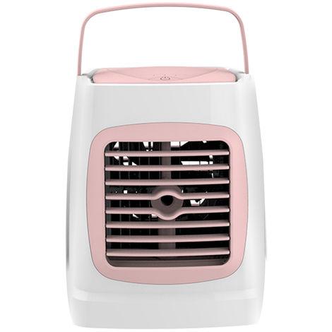 Acondicionador de aire mini Aire acondicionado con funcion de humidificacion personal portatil USB refrigerador pequeno, rosa