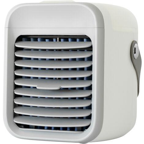Acondicionador de aire portatil recargable del aire del ventilador del refrigerador del acondicionador de aire del ventilador de refrigeracion con funcion de humidificador de filtracion 3 velocidad de la luz colorida noche, azul