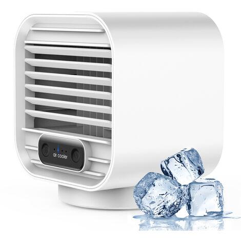 Acondicionador de aire portatil ventilador de escritorio de enfriamiento del refrigerador de aire 150 ml Mini espacio mas frio con viento 3 velocidades de USB tranquila accionado por aire del ventilador del refrigerador para la seguridad del dormitorio, V
