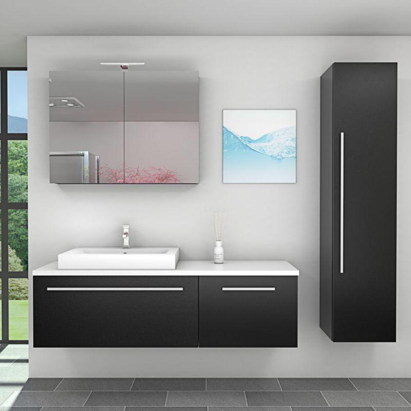 AcquaVapore Badmöbel Set City 211 V4 Esche sw Badezimmermöbel, Waschtisch 160cm -17136- ohne Spiegelschrankbeleuchtung - TRENDBAD24 GMBH & CO. KG