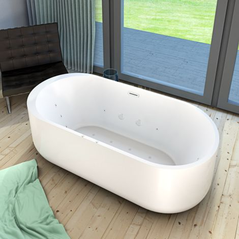 AcquaVapore freistehende Badewanne FSW26 170cm Whirlpool Luft & Wasser