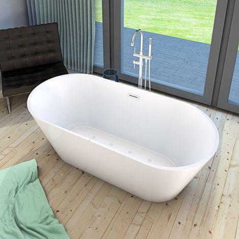 AcquaVapore freistehende Badewanne Wanne Whirlpool FSW11 170cm mit Luftmassage