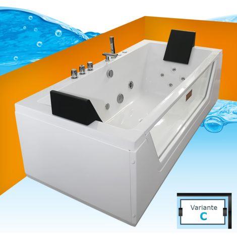 AcquaVapore Whirlpool Pool Badewanne Wanne A1813NC mit Reinigungsfunktion 185x90