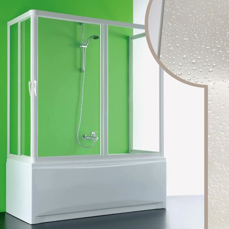 Acrylic 3-sided bath screen mod. Nettuno with central opening
