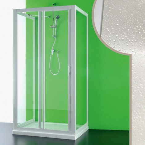 Acrylic 3-sided shower enclosure mod. Mercurio with side opening