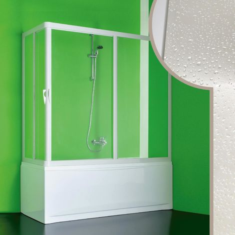 Acrylic bath screen mod. Nettuno with central opening