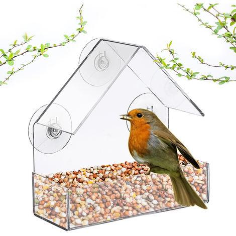 Acrylic Bird Feeder 3-Suction Cup Bird Window Food Transparent Feeder