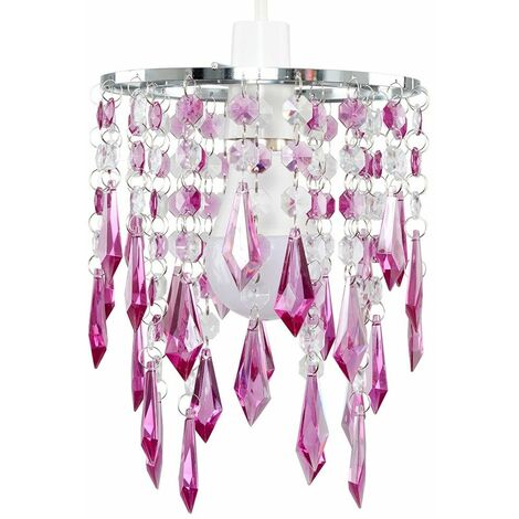 Acrylic Ceiling Pendant Light Shade Crystal Jewel Chandeliers Shades - Clear - Silver