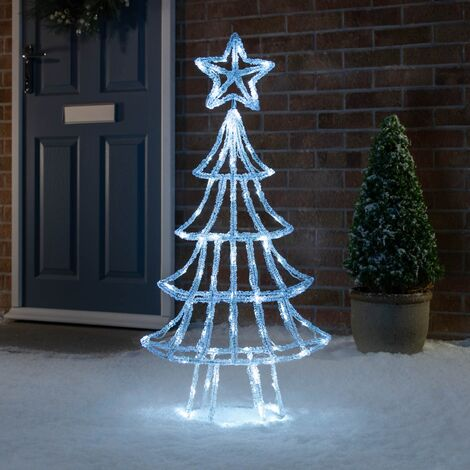 Acrylic Christmas Tree LED Silhouette Light Decoration Indoor Outdoor 1m Christow