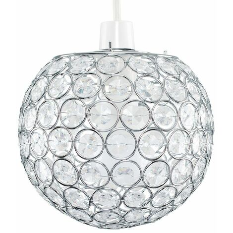 Acrylic Crystal Light Shade Easy Fit JewelBall Ceiling Pendant - Silver