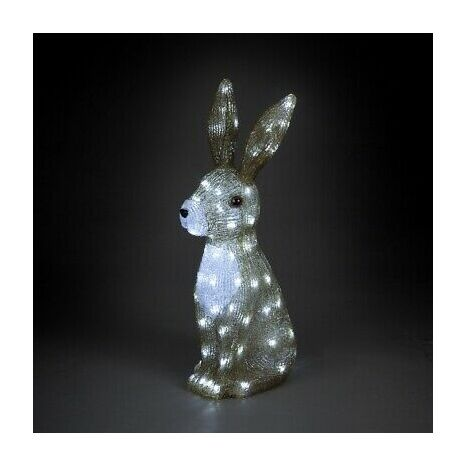 Acrylic Hare Christmas Outdoor Garden Decoration - 54cm - 80 Ice White LED's