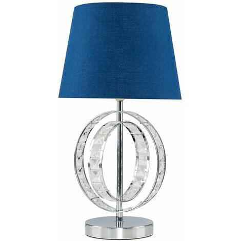 Acrylic Jewel Double Hoop Touch Table Lamp + Dimmable LED Candle Bulb - Grey