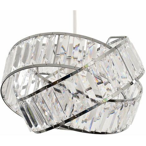 Acrylic Jewel Rings Ceiling Pendant Light Shade + 6W LED GLS Bulb - Smoked