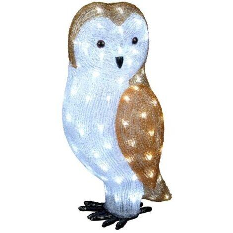 "main image of ""Acrylic Owl Christmas Outdoor Garden Decoration - 56cm - 100 Ice White LED's"""