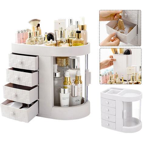Acrylic Storage Box Organizers Dust-Proof Cosmetics Makeup Organizer Jewelry Storage Organizer with 4 Drawer 29.5*7*27.5cm White
