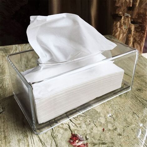 Acrylic Transparent Transparent Tissue Box Cover Rectangular Holder Paper Storage Case
