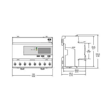 Acti9 iEM - compteur d énergie tri - 63A - impulsions - MID - A9MEM3110