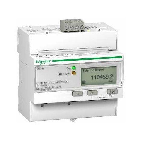 Acti9, iEM Compteur d'énergie iEM3155 63A, Modbus, Multi-tarifs, Alarme kW, MID - A9MEM3155
