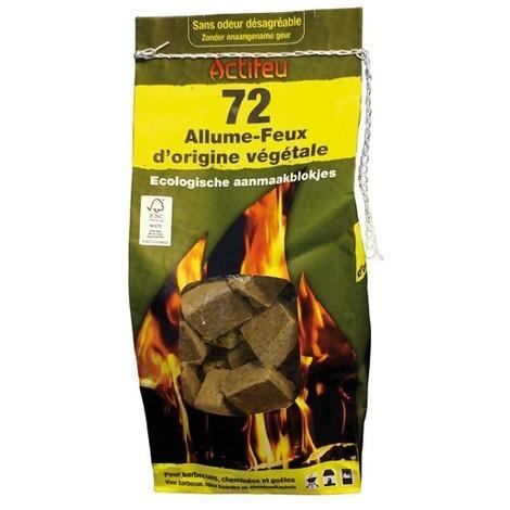ACTIFEU - Allume-feu écologique en bois compressé - lot de 72