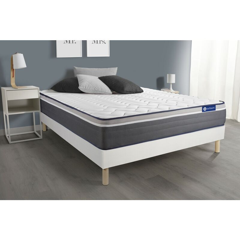 Actiflex plus matratze 120 x 210cm + Bettgestell mit lattenrost , Härtegrad 5 , Taschenfederkern und Memory-Schaum , Höhe : 26