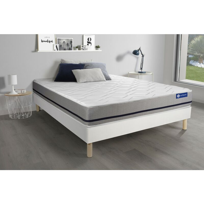 Actilatex soft matratze 120 x 210cm + Bettgestell mit lattenrost , Härtegrad 3 , Latex und Memory-Schaum , Höhe : 20 cm