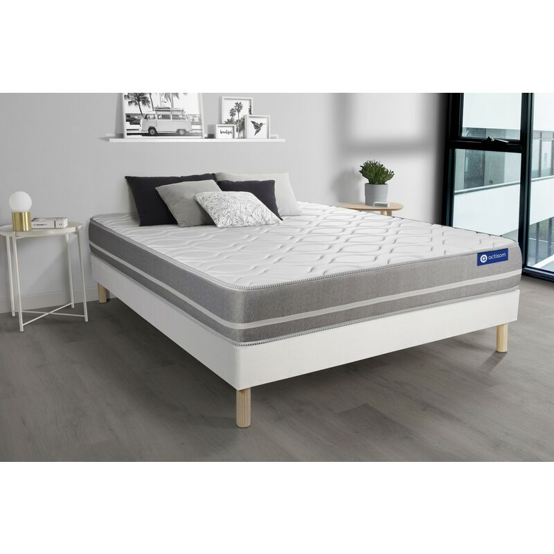 Actilatex touch matratze 130x200cm + Bettgestell mit lattenrost , Härtegrad 2 , Latex und Memory-Schaum , Höhe : 20 cm