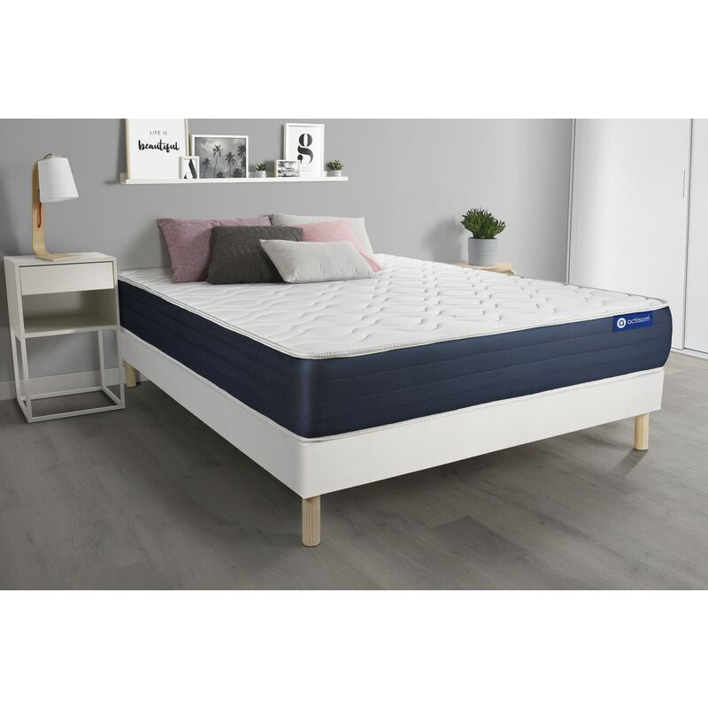 Actimemo sleep matratze 135x190cm + Bettgestell mit lattenrost , Härtegrad 2 , Memory-Schaum , Höhe : 22 cm