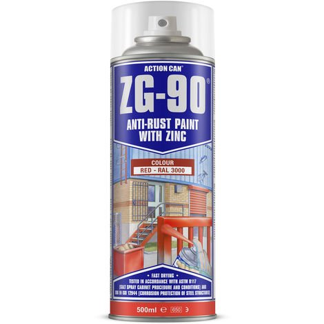 Action Can ZG-90 Red Anti Rust Cold Zinc Galvanising Colour Spray Paint 500ml