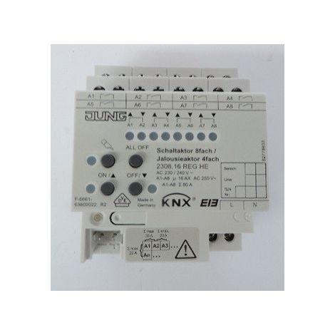 Actionneur TOR 8 voies KNX / actionneur volet roulant - store 4 sorties BUS 4M 16A 250V 3000W domotique JUNG 2308.16REGHE