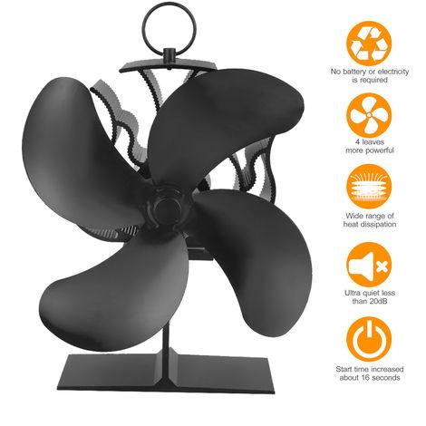 Actualiza 4 cuchillas estufa de calor del ventilador accionado de madera del registro Chimenea de inicio rapido de circulacion de aire caliente con la Flecha de la direccion de Mark anillo de la manija, version estandar