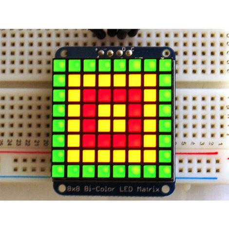"Adafruit 902 1.2"" 8x8 Square LED Matrix with I2C Backpack Bi-colour Red / Green"