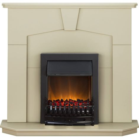 Adam Abbey Fireplace Suite in Stone Effect with Blenheim Electric Fire in Black, 48 Inch