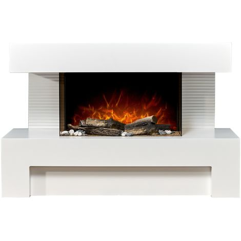Adam Alcor Electric Fireplace Suite with Remote Control in Pure White, 43 Inch